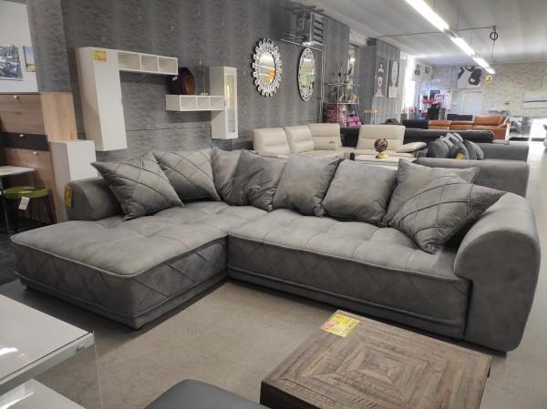 XXL Wohnlandschaft Sofa Couch grau Möbel Wurm wohnen