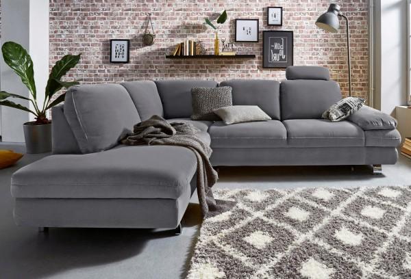 Ecksofa Sofa grau Couch Wohnzimmer