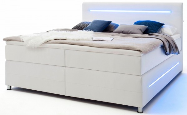 LED Bett Boxspringbett Ehebett 180x200 weiß