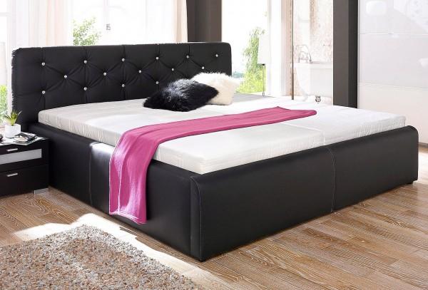 Polsterbett Ehebett Glamour schwarz 180x200 cm
