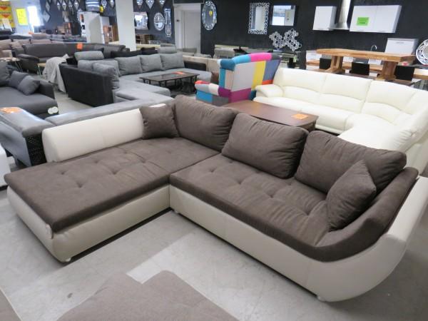 Sofa Couch L Form braun beige mit Schlaffunktion und Bettkasten