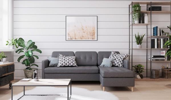 Ecksofa Couch L Form Eckgarnitur grau