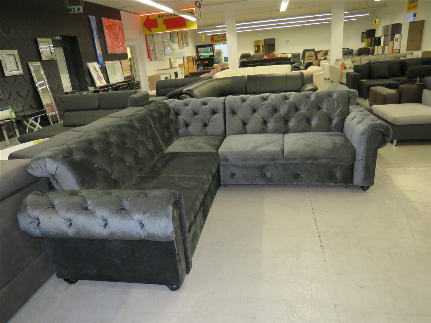 chesterflield couch sofa grau l form schlaffunktion. Black Bedroom Furniture Sets. Home Design Ideas