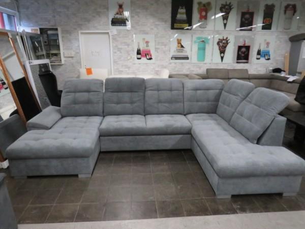 Wohnlandschaft XXL-Sofa U-Form mit Schlaffunktion 2xBettkasten