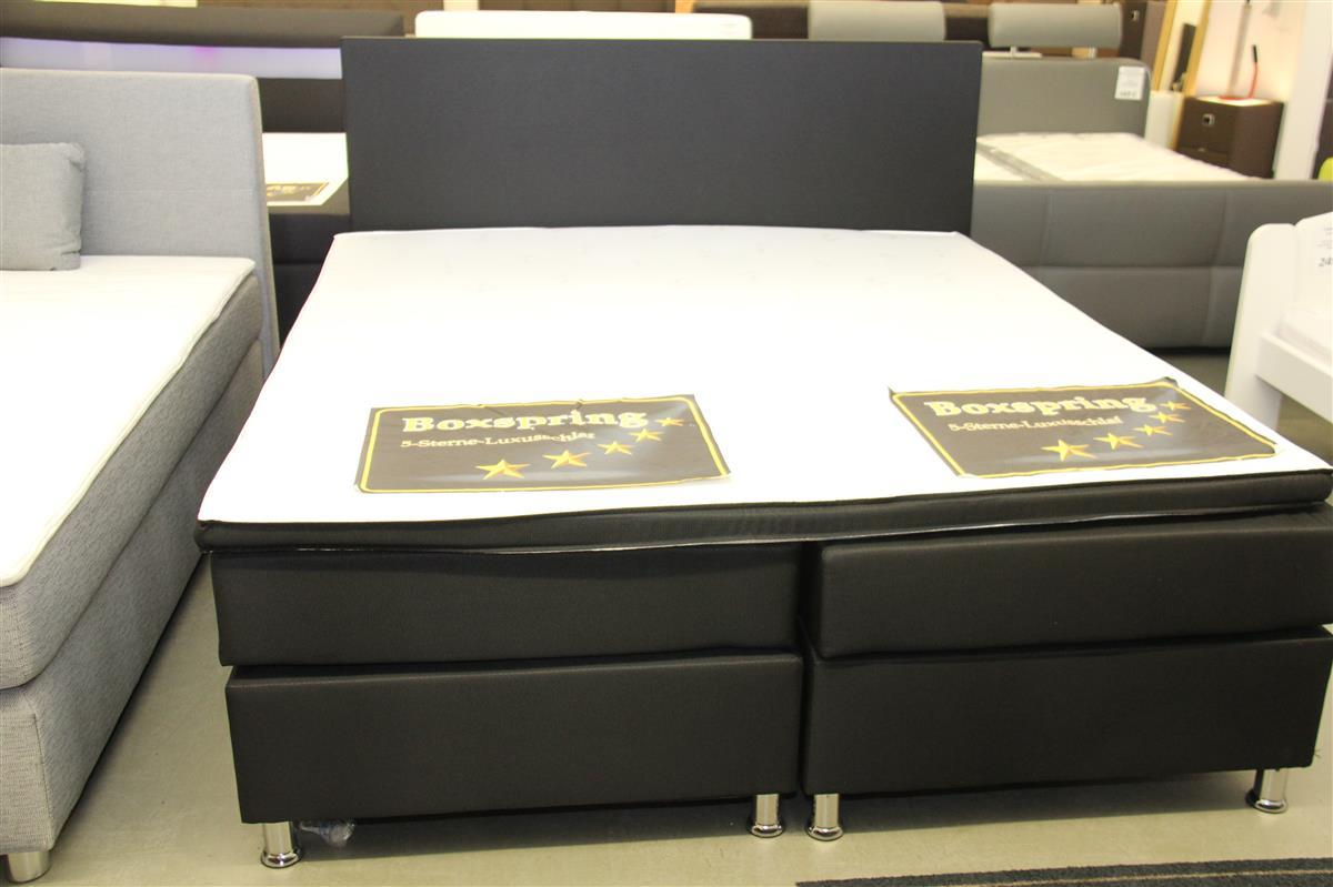 neu fillis boxspringbett bett 180x200 grau schwarz. Black Bedroom Furniture Sets. Home Design Ideas