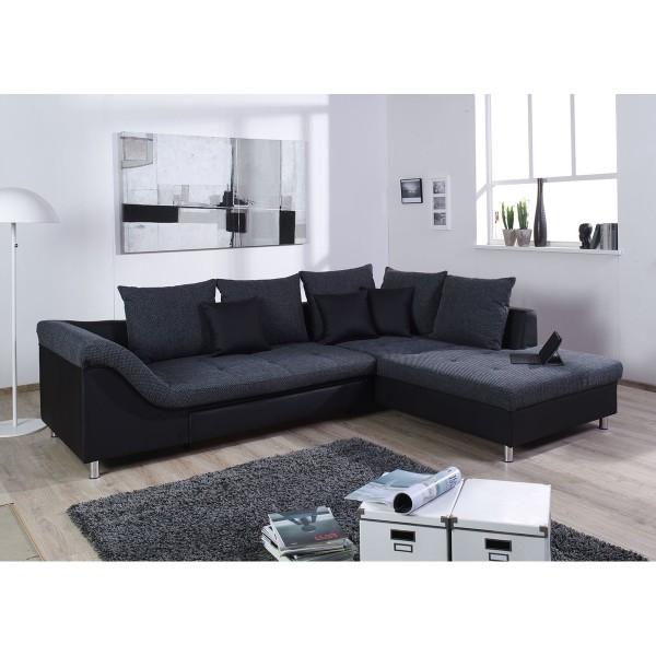 Ecksofa Sofa Couch L Form grau schwarz mit Schlaffunktion