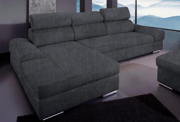 Ecksofa Sofa dunkelgrau verstellbare Kopfstützen und Schlaffunktion