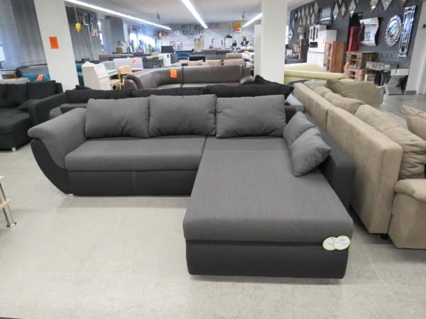 Sofa Couch L Form schwarz grau mit Schlaffunktion und Bettkasten