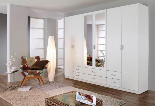 Kleiderschrank 270x210 cm 6 Türen Drehtürenschrank weiß