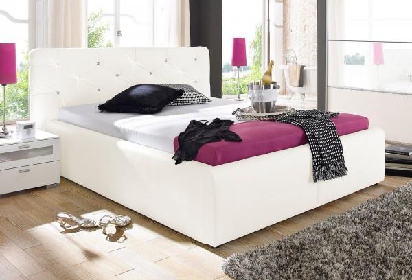 Polsterbett Ehebett Glamour weiß 180x200 cm