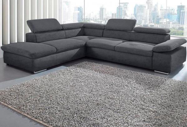 Ecksofa Sofa grau inklusive Kopf- und Armteilverstellung