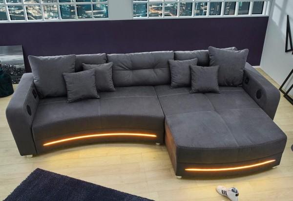 Wohnlandschaft Laredo grau LED Sofa mit Licht und Sound
