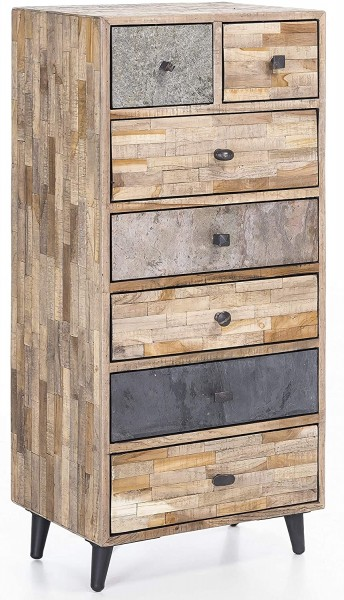 The Wood Times Schubladenkommode 'Kean', FSC Recycled Mixed Wood, 50x35x110cm