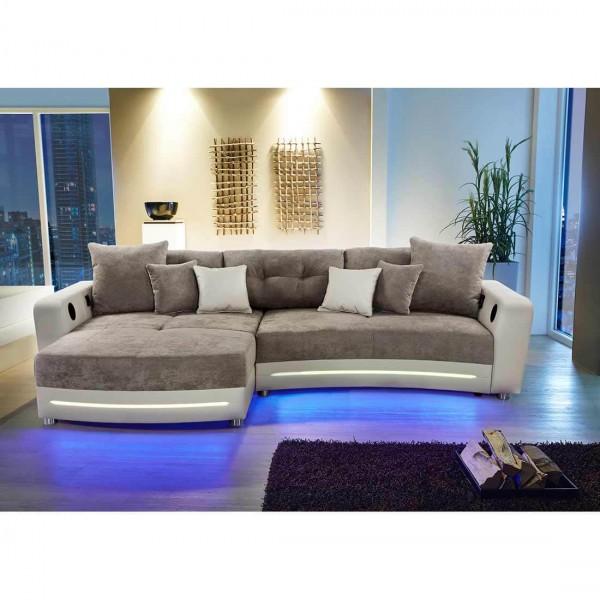 Wohnlandschaft Laredo sand LED Sofa mit Licht und Sound