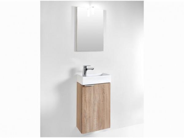 Badmöbel Set Gizo Badezimmer Inklusive Waschbecken Spiegel und Beleuchtung
