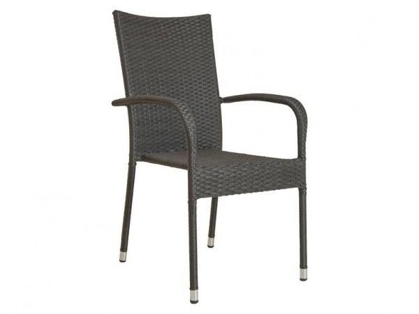 Stuhl Gartenstuhl Geflecht Stapel-Stuhl grau Balkon Terrasse