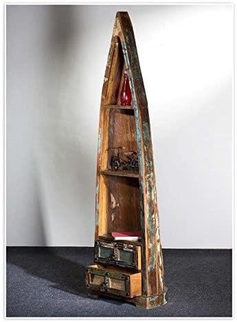 The Wood Times Bootsregal Delhi, Holz, Braun, 55 x 35 x 190 cm