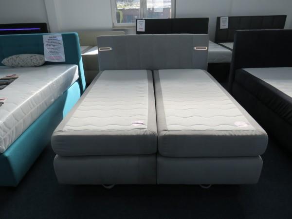 Bett Boxspringbett grau 180x200 cm mit Bettkasten und Beleuchtung