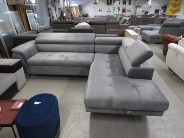 Sofa verstellbare Kopfstützen grau Schlaffunktion Bettkasten Wohnzimmer