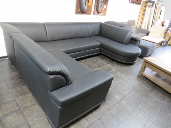 Echt Leder Sofa U Form schwarz Schlaffunktion