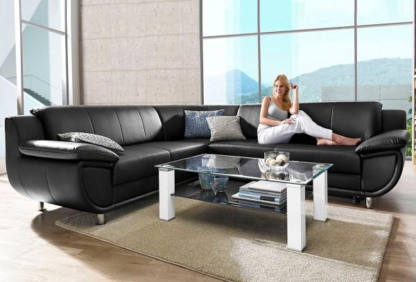 Sofa Couch Echt Leder schwarz Rundecke mit Schlaffunktion