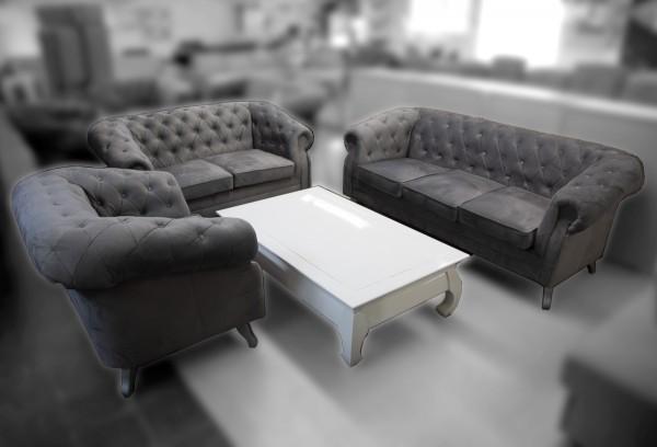 3+2+1 Chesterfield Garnitur Sofa Couch grau