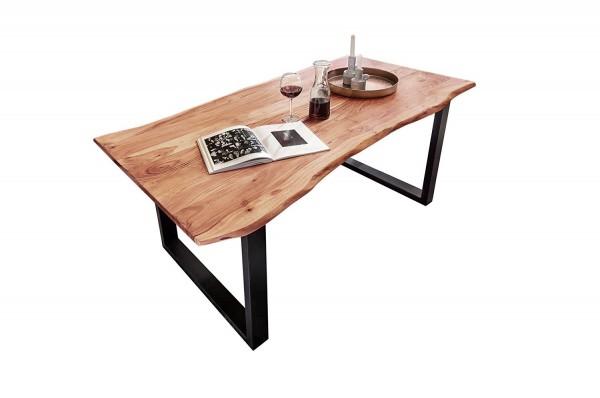 130x90 cm Tisch Esstisch Massivholz Akazie Baumkantentisch