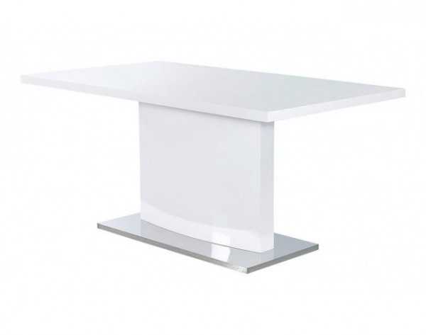 Tisch Salinas Esstisch hochglanz weiß 160x90 cm ausziehbar