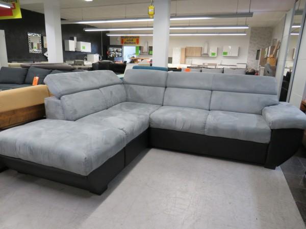 Sofa Couch L Form schwarz grau verstellbare Kopfstützen