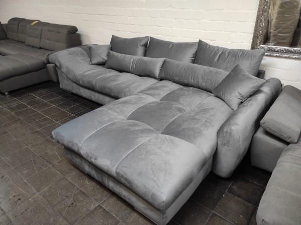 Wohnlandschaft Sofa Samtbezug wollig weich grau Möbel Wurm