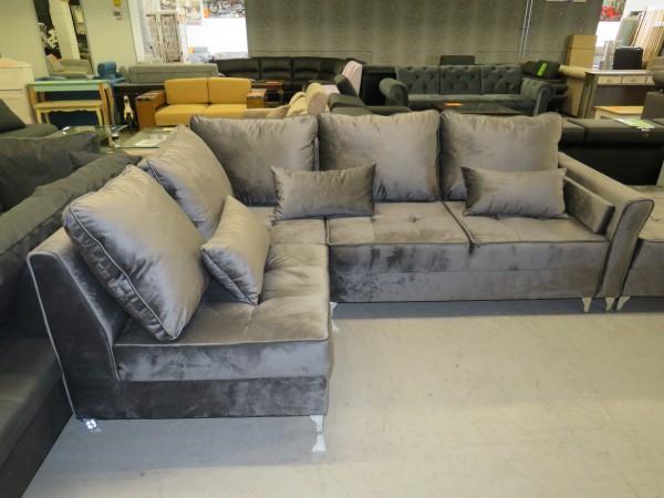 Sofa Couch L Form grau mit Hocker und Schlaffunktion