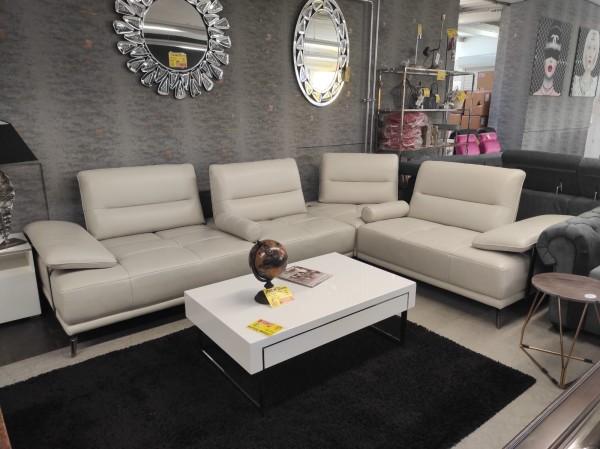 Wohnlandschaft Sofa elektrisch verstellbar Echt Leder creme Möbel