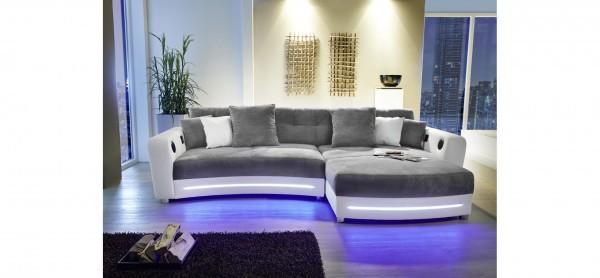 Wohnlandschaft Laredo grau weiß LED Sofa mit Licht und Sound