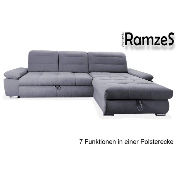 """Polsterecke """"RAMZES"""" Recamiere universell montierbar - Schlaffunktionen, verschiedene Farben"""
