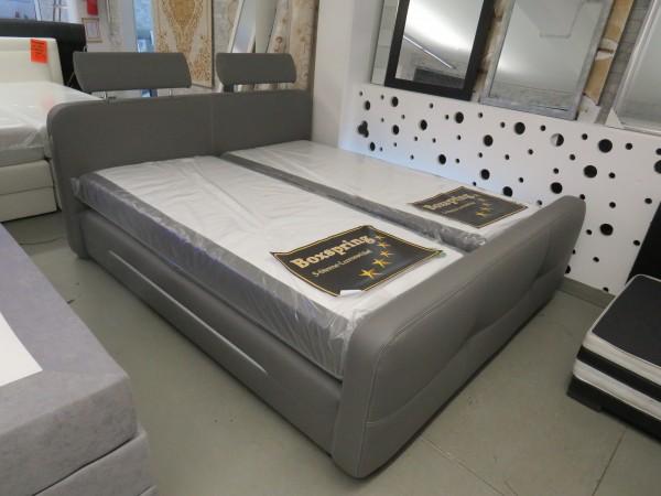 Bett Boxspringbett grau 180x200 cm mit Beleuchtung