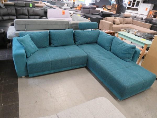 Sofa Couch L Form türkis blau mit Schlaffunktion und Bettkasten