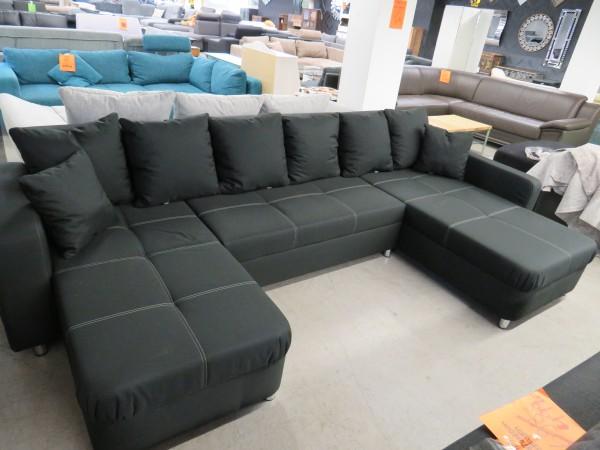 Wohnlandschaft Sofa Couch U Form schwarz Schlaffunktion und Bettkasten