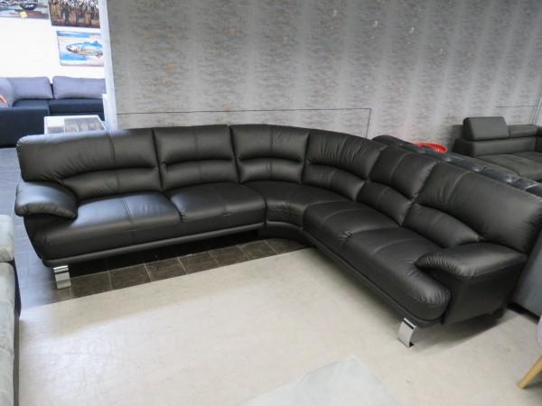 Sofa Echt Leder schwarz Rundecke wohnen
