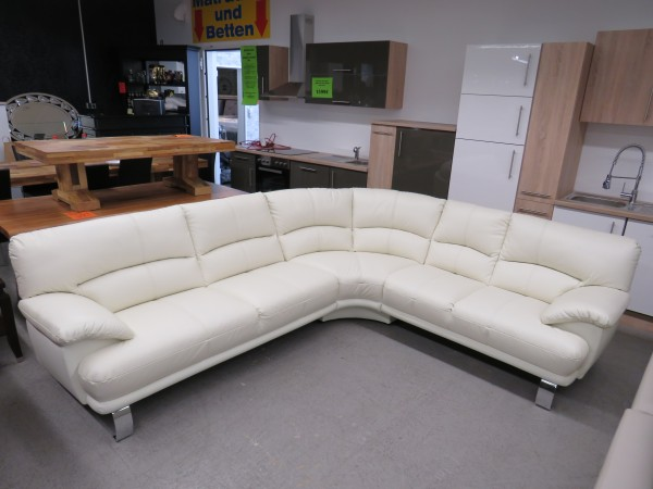 Echt Leder Rundecke Couch Sofa in creme