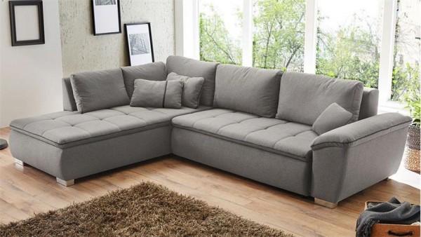 Sofa Couch Ecksofa mit Schlaffunktion und Bettkasten grau
