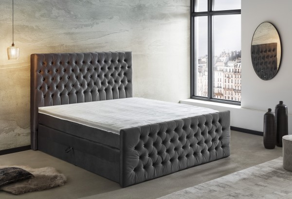 180x200 cm Chesterfield Bett Boxspringbett mit Bettkasten