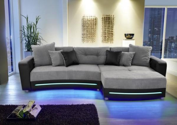 Wohnlandschaft Laredo grau schwarz LED Sofa mit Licht und Sound