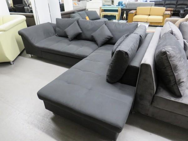 Ecksofa Sofa Couch L Form grau mit Schlaffunktion-Copy