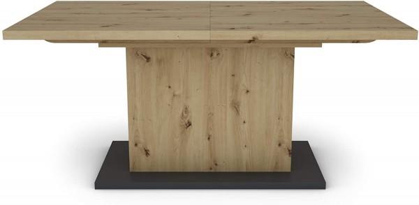 AIKO Eiche-Optik braun großer Auszugstisch 160 cm bis 200 cm Säulentisch mit Ausziehfunktion