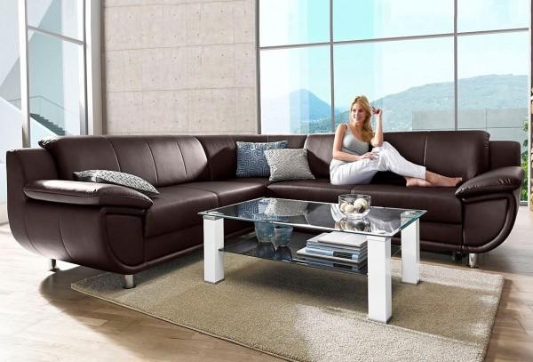 Sofa Couch Echt Leder braun Rundecke