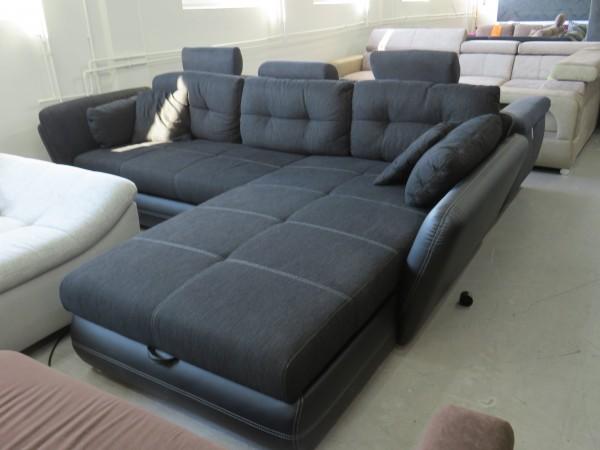 Wohnlandschaft Sofa Couch schwarz mit Schlaffunktion und Bettkasten